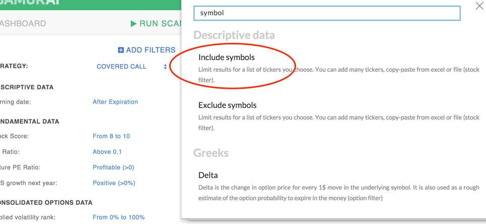 Include symbols filter