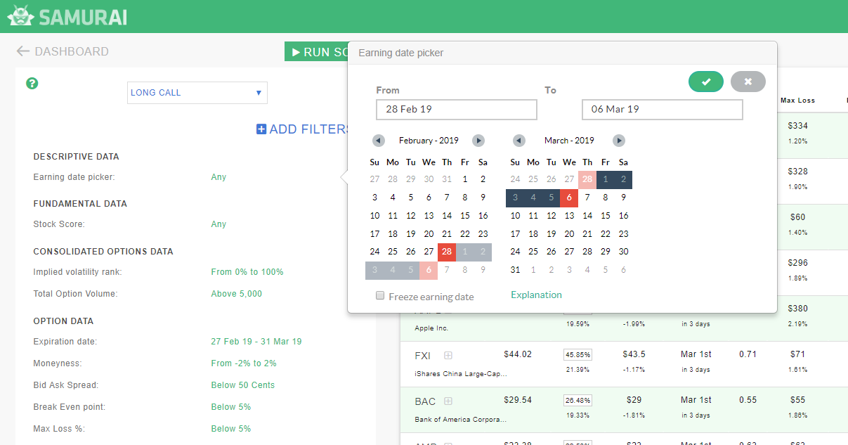 Earning date picker